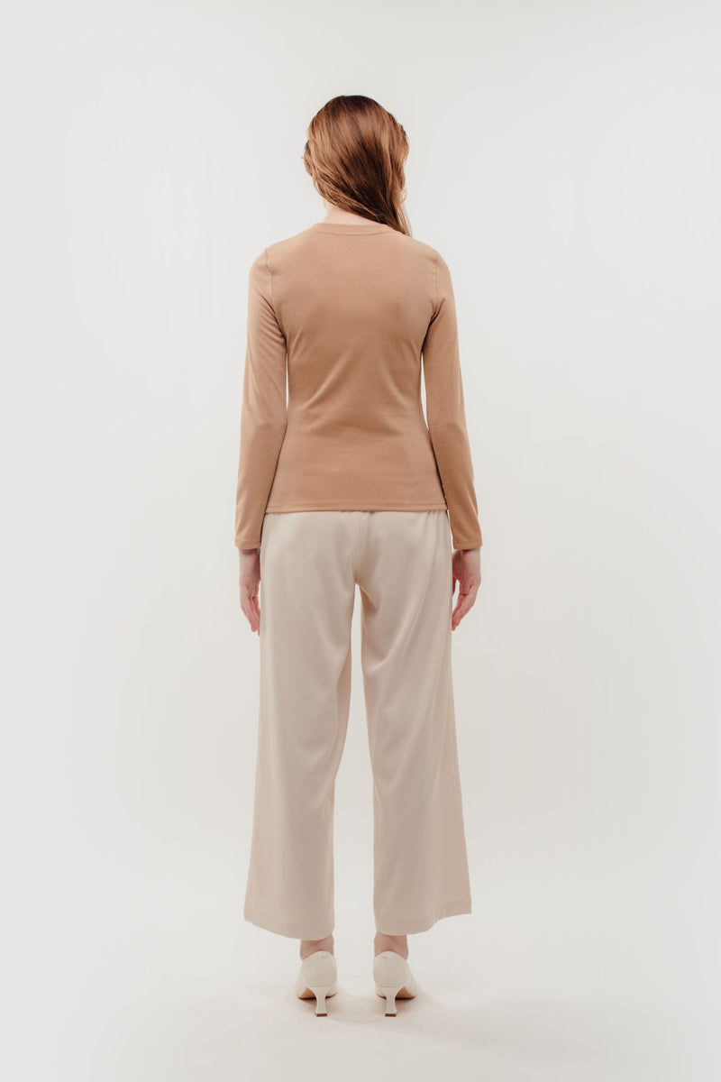 Fitted Long Sleeve Shirt in Shimmer Beige