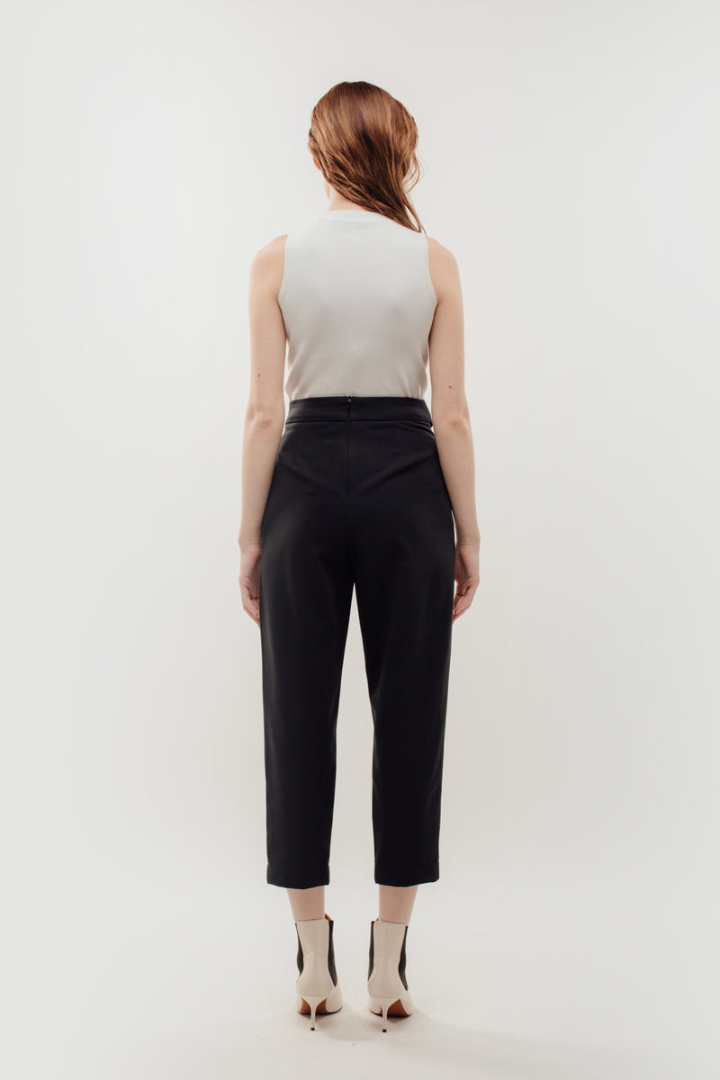High Waisted Trousers with Belt Tie in Navy