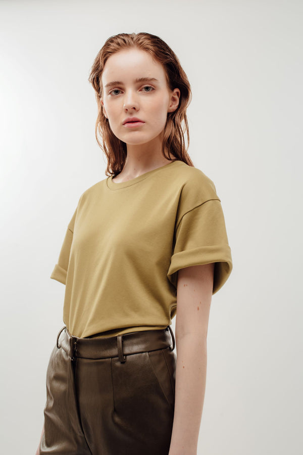 Oversized Cotton Tee in Khaki