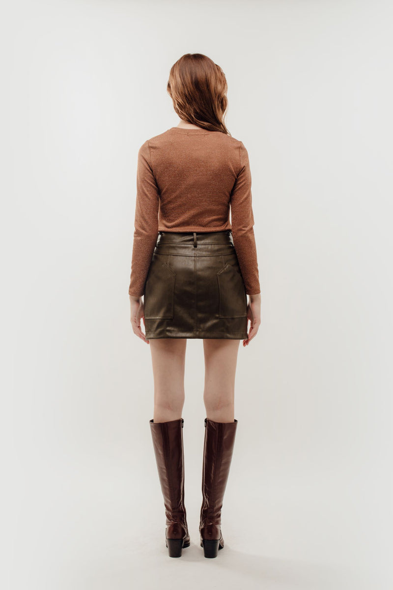 Faux Leather Mini Skirt in Olive