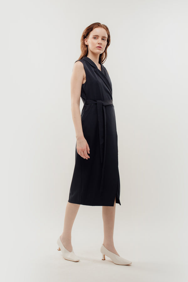 Sleeveless Midi Wrap Dress in Navy