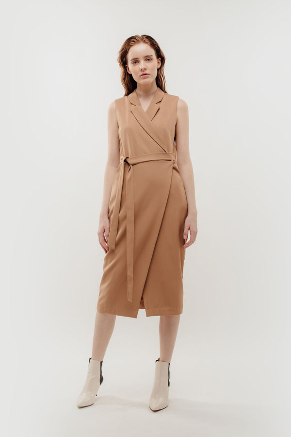 Sleeveless Midi Wrap Dress in Camel