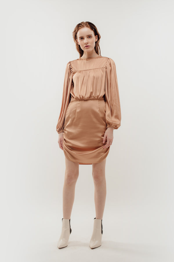 Puffed Sleeved Draped Dress in Camel