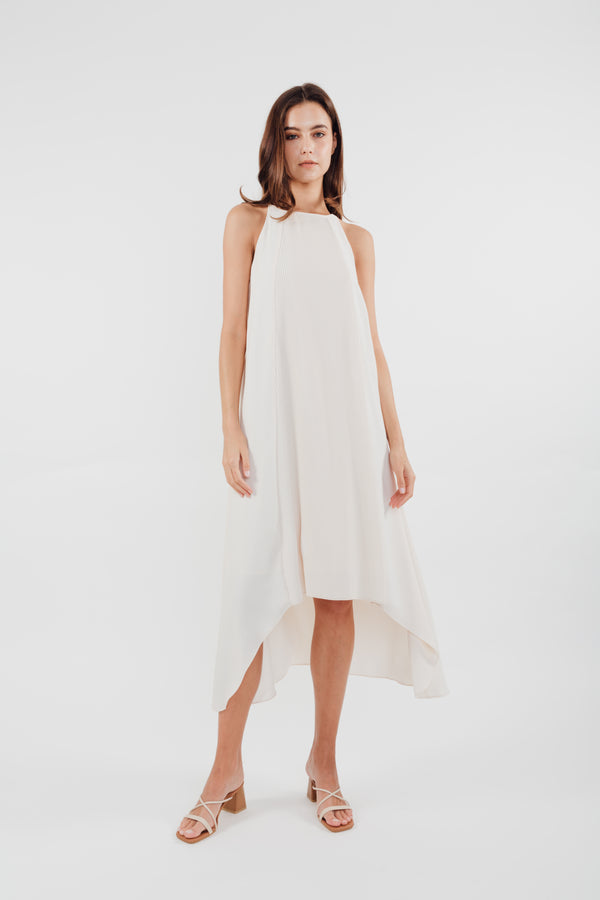 Pleated Halter Dress in Pearl