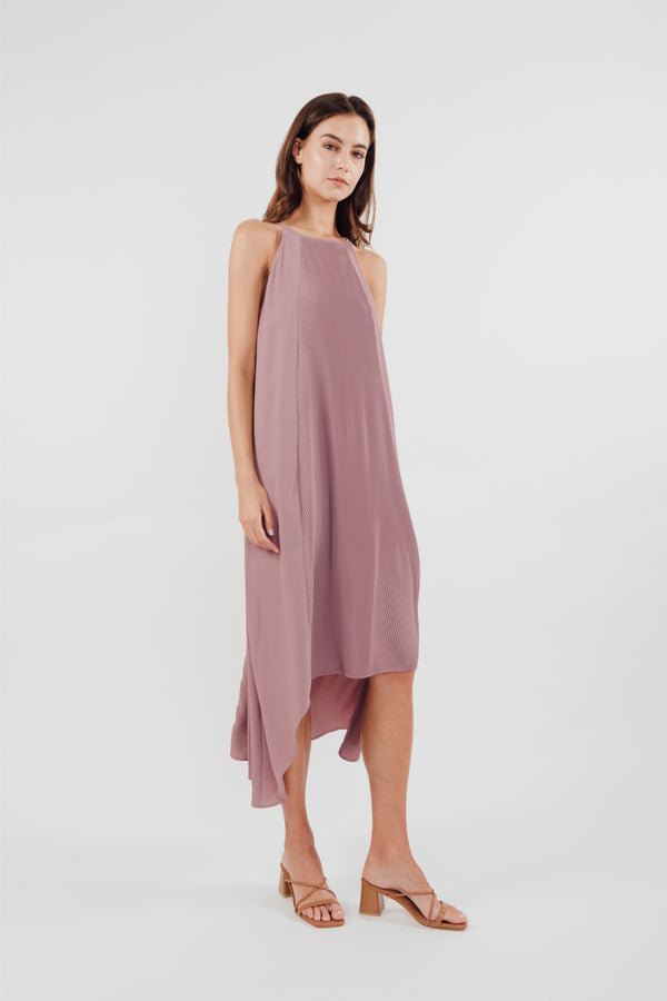 Pleated Halter Dress in Mauve