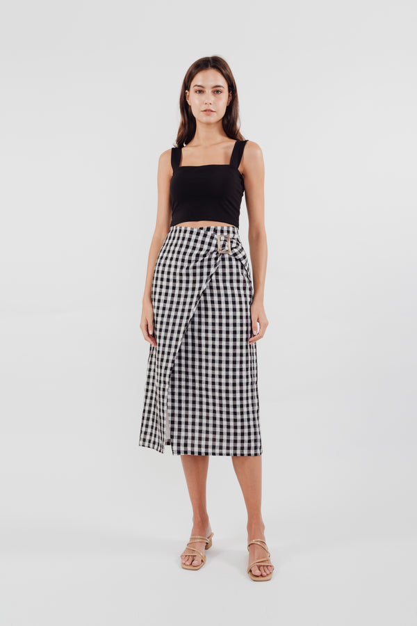 Wrap Skirt in Checkered Print