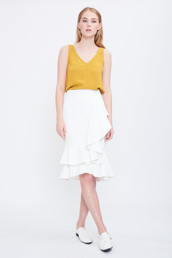 Ruffle Drape Skirt in Cream