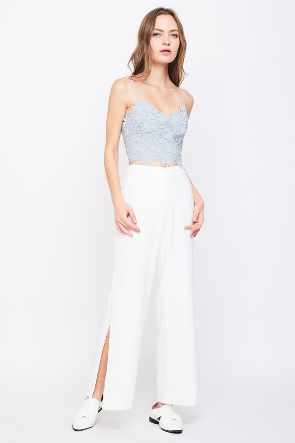 V Neck Lace Bustier In Grey