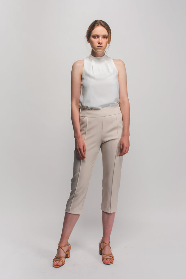 Cropped Tailored Trousers In Cream