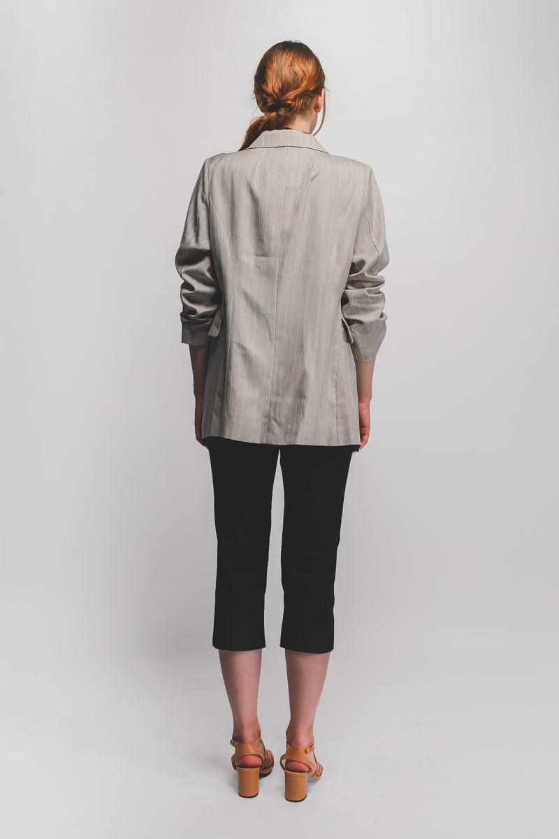 Relaxed Fit Blazer In Pinstriped Beige Linen