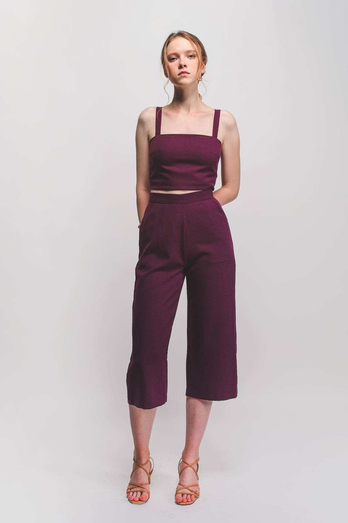 Textured Cropped Top In Plum