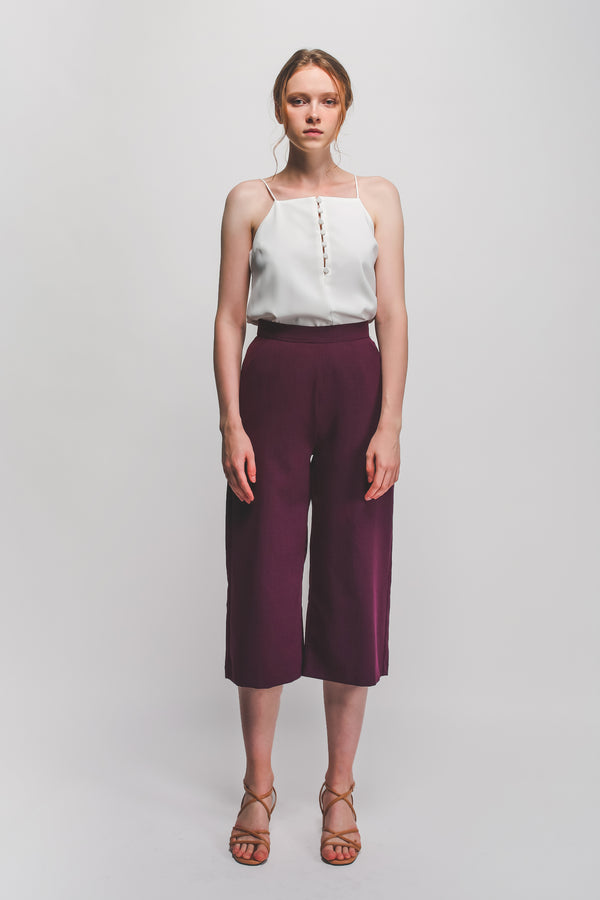 High Waisted Textured Culottes In Plum