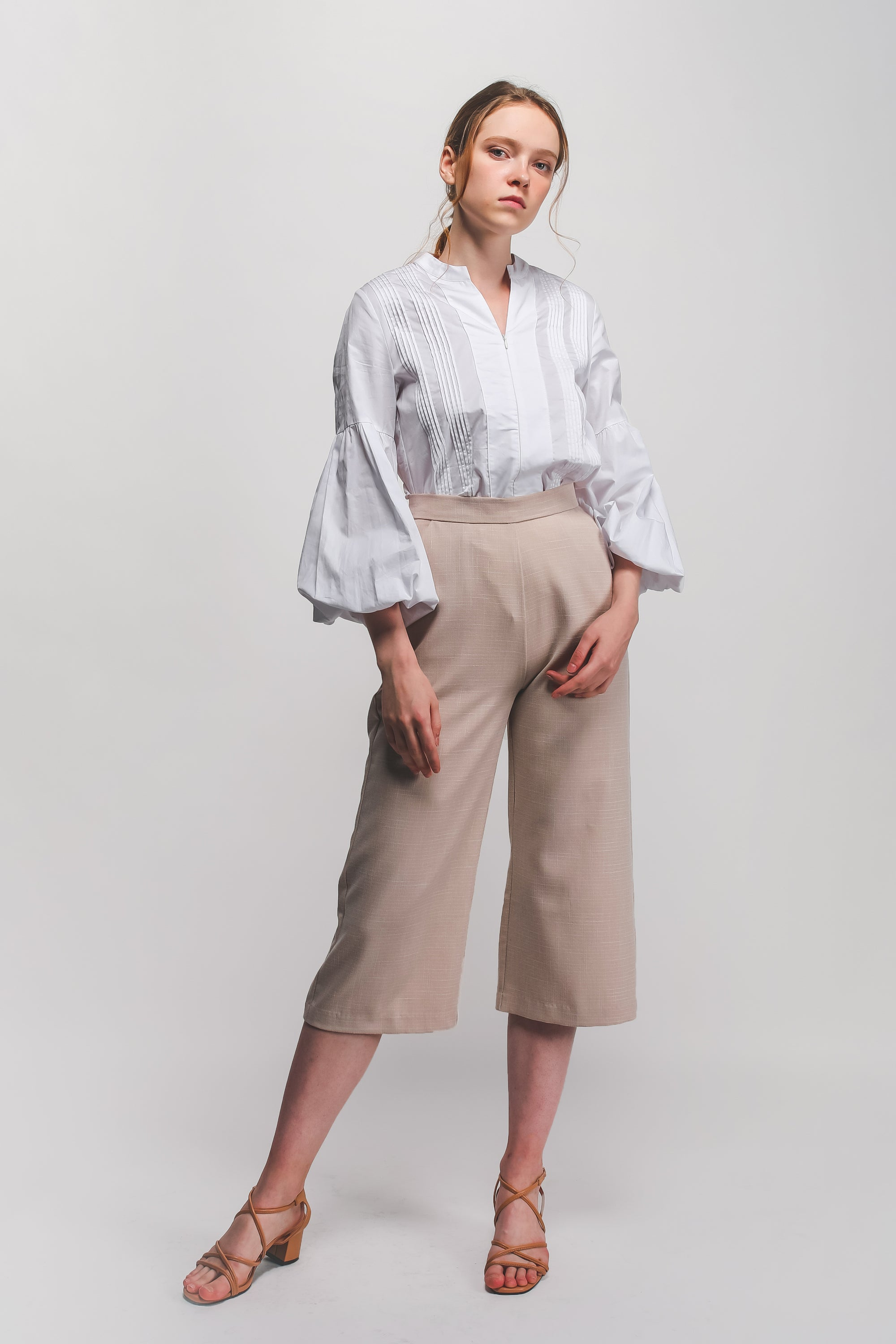 High Waisted Textured Culottes In Beige