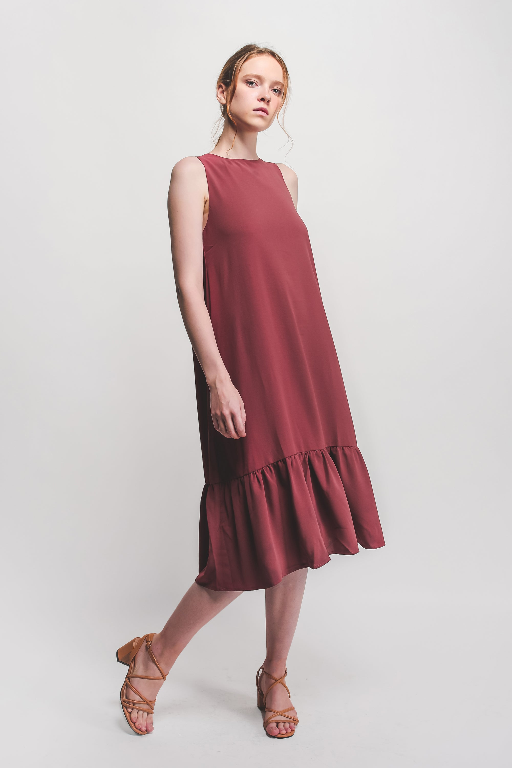 Ruffle Hem A-Line Dress In Dusty Rose