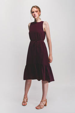 Ruffle Hem A-Line Dress in Plum