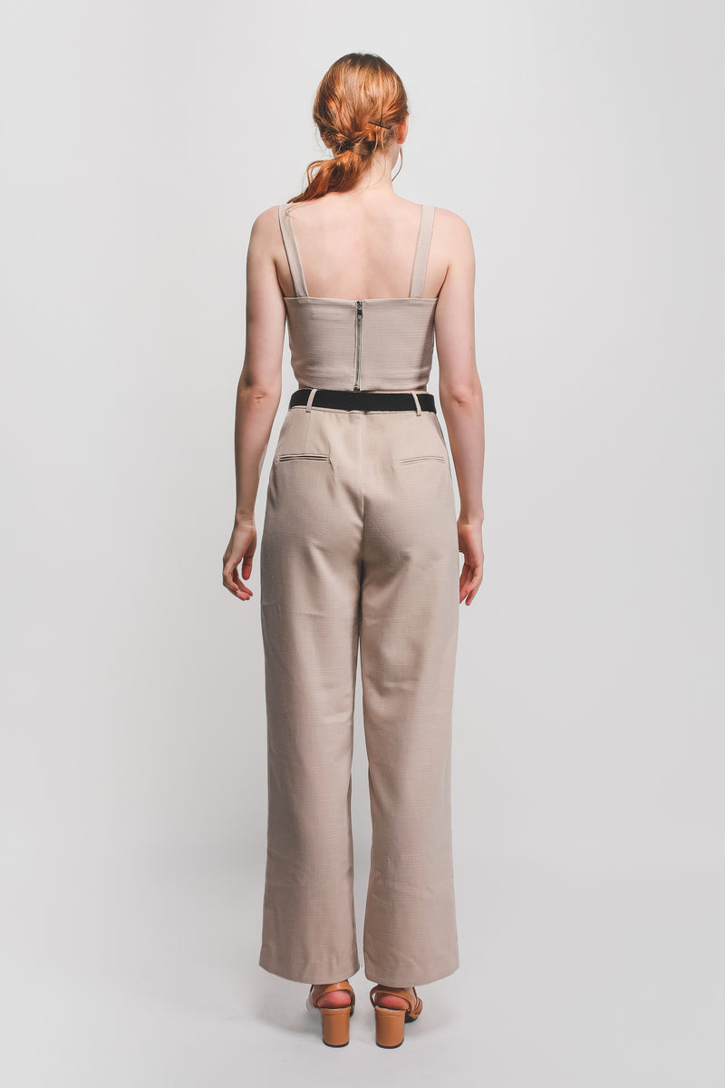 Textured Wide Legged Pants W Contrasting Sash In Beige