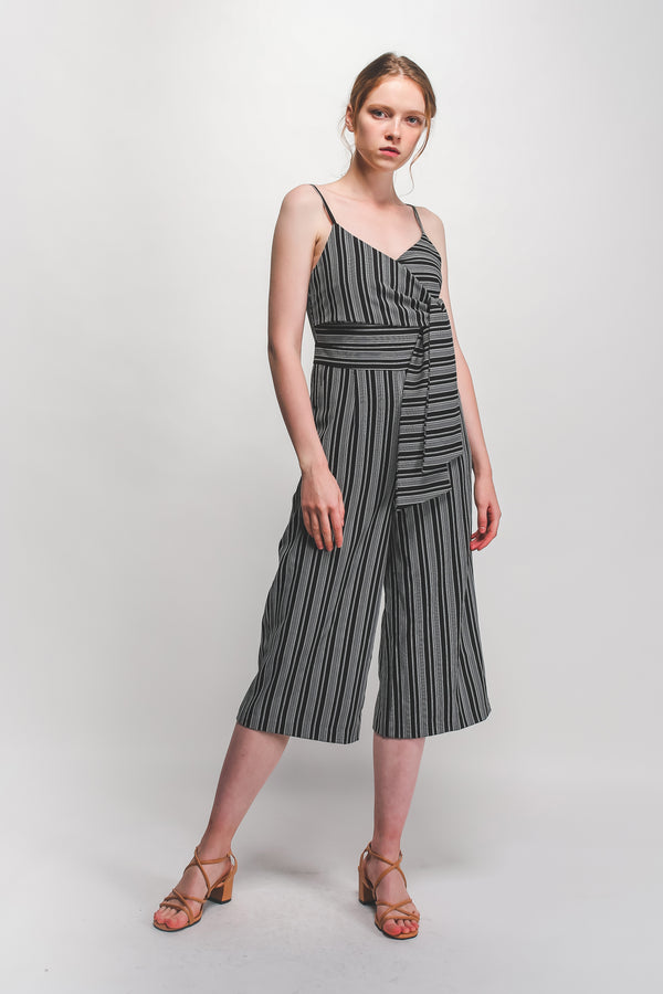 Tie Culottes Jumpsuit In Black/White Stripes