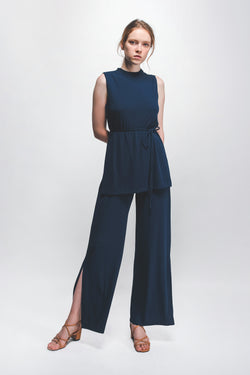 Knitted High-Neck Top In Blue W Sash In Blue