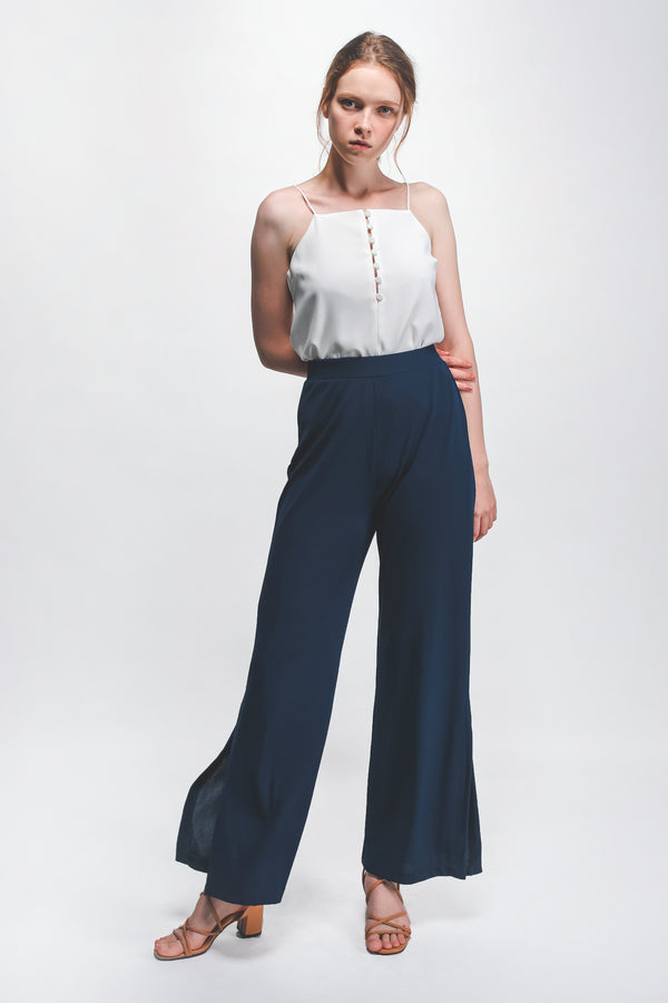 Knitted Front Slit Wide Legged Pants In Blue