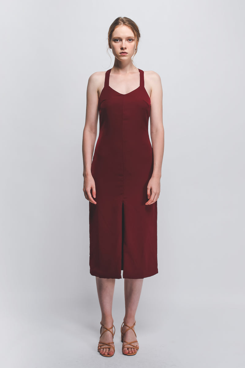 d0adcb13b240 Halter-Neck Midi Dress W Front Slit In Maroon – KLARRA