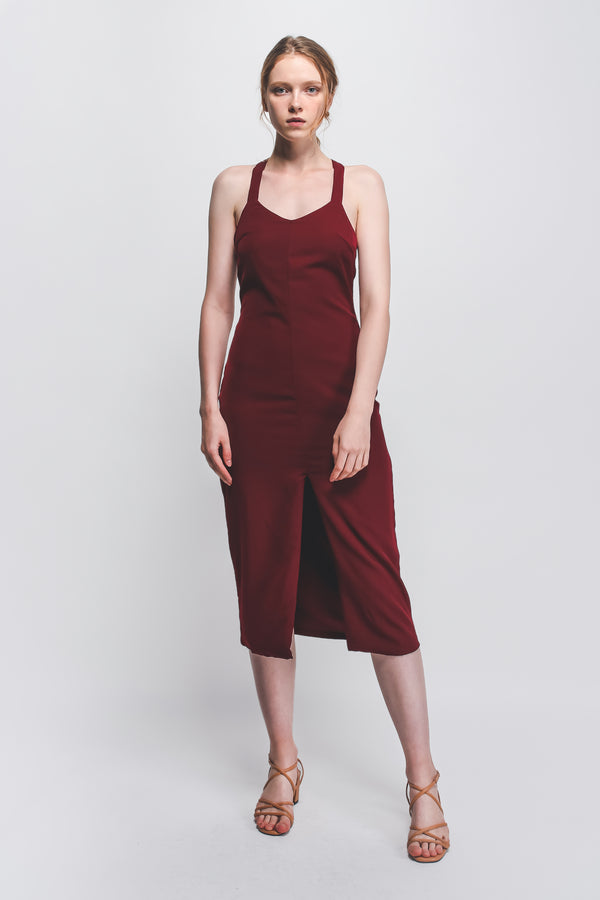 ... Halter-Neck Midi Dress W Front Slit In Maroon 430d6adf6