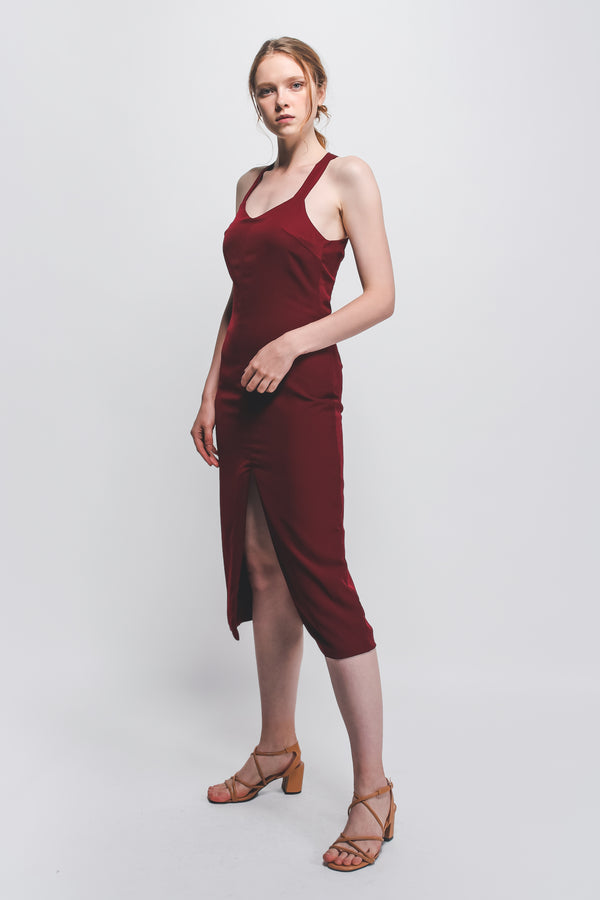 Halter-Neck Midi Dress W Front Slit In Maroon