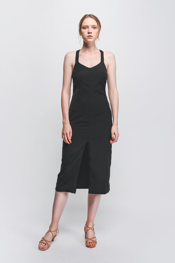 Halter-Neck Midi Dress W Front Slit In Black