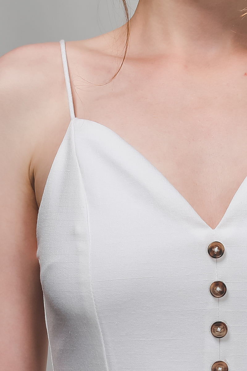 Button Detail Dress In White
