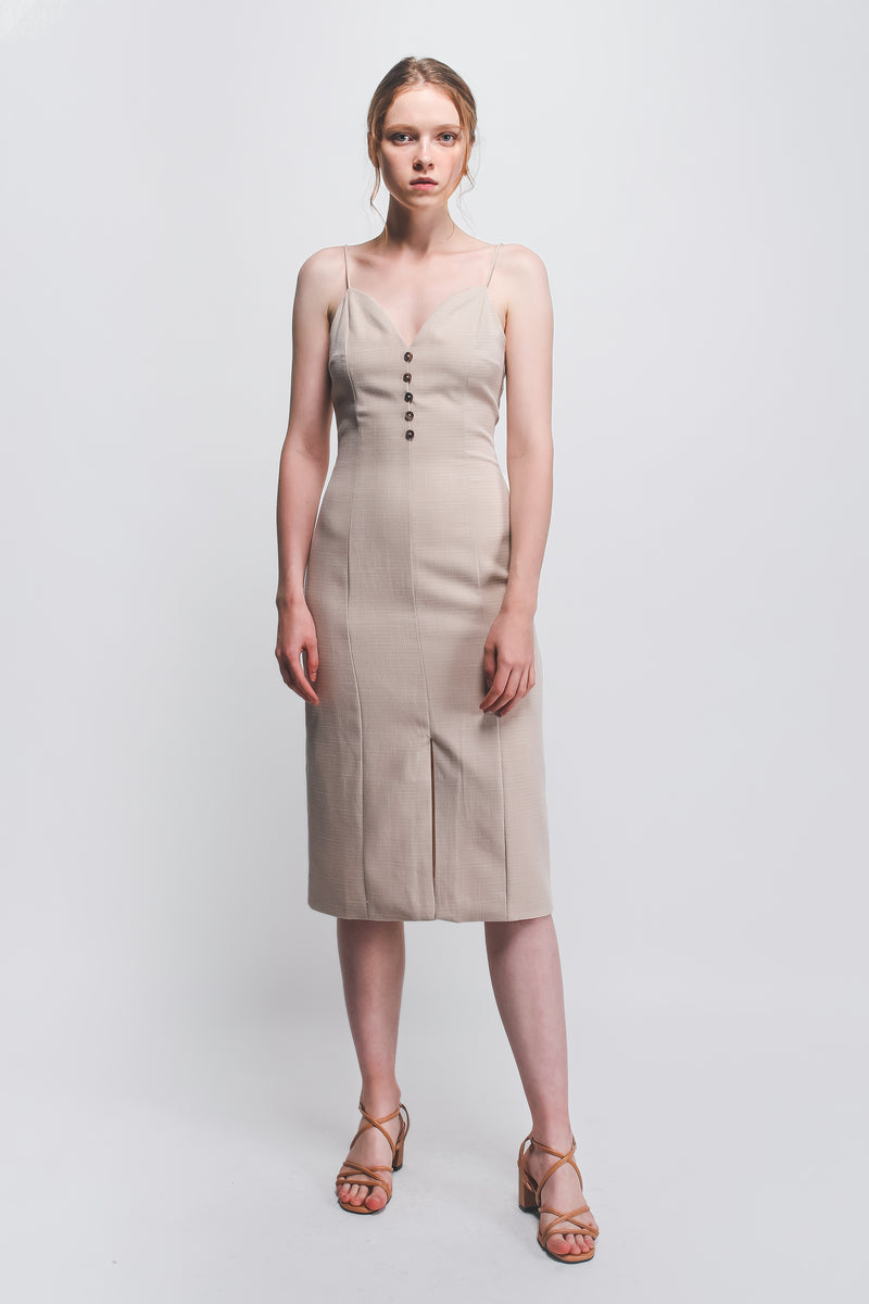 Button Detail Dress In Beige