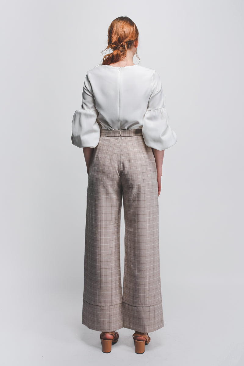 Checkered Hem Detailed Wide Legged Pants In Biege