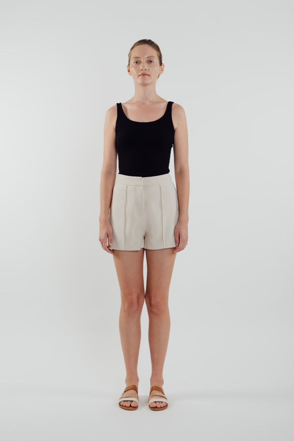 High Waisted Foldlines Shorts in Ecru