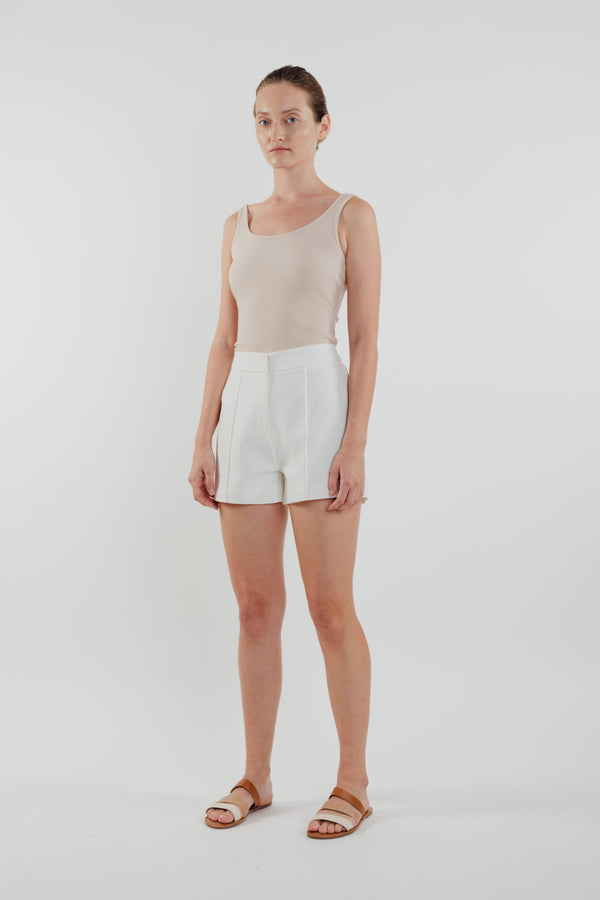 High Waisted Foldlines Shorts in White