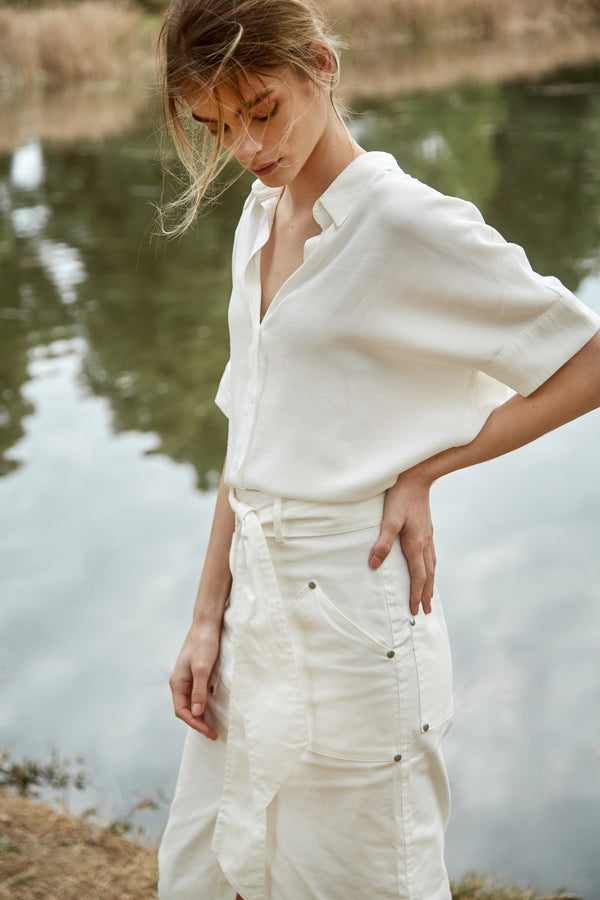 Cotton Blend Shirt in White