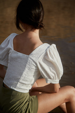 Puffed Sleeved Textured Top in White