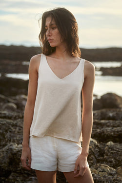 V Neck Flared Top in Ecru