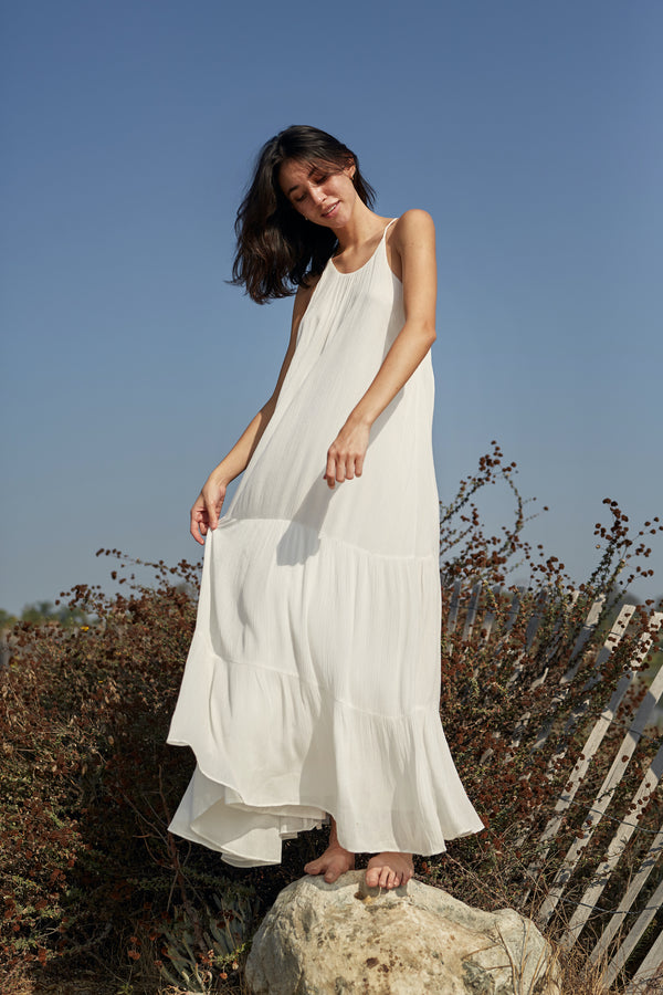 Textured Crepe Maxi Dress in White