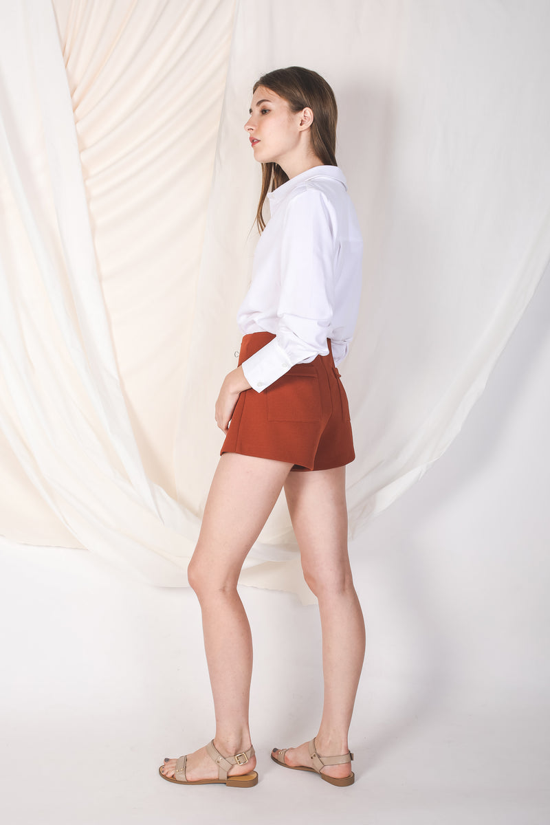 Textured Shorts In Burnt Orange