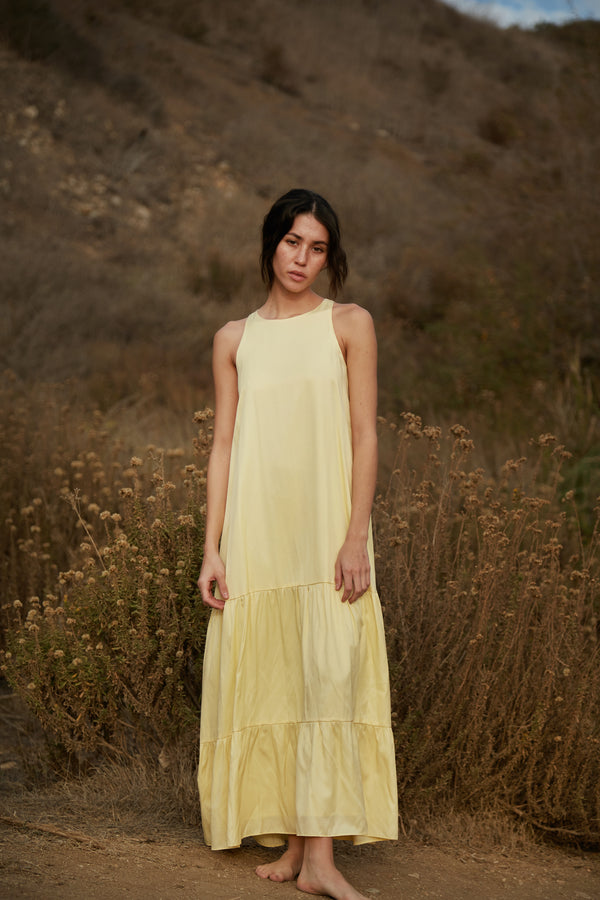 Cotton Blend Tiered Maxi Dress in Yellow