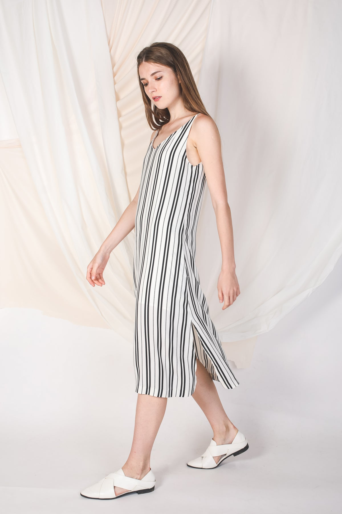 Contrast Striped Midi Dress