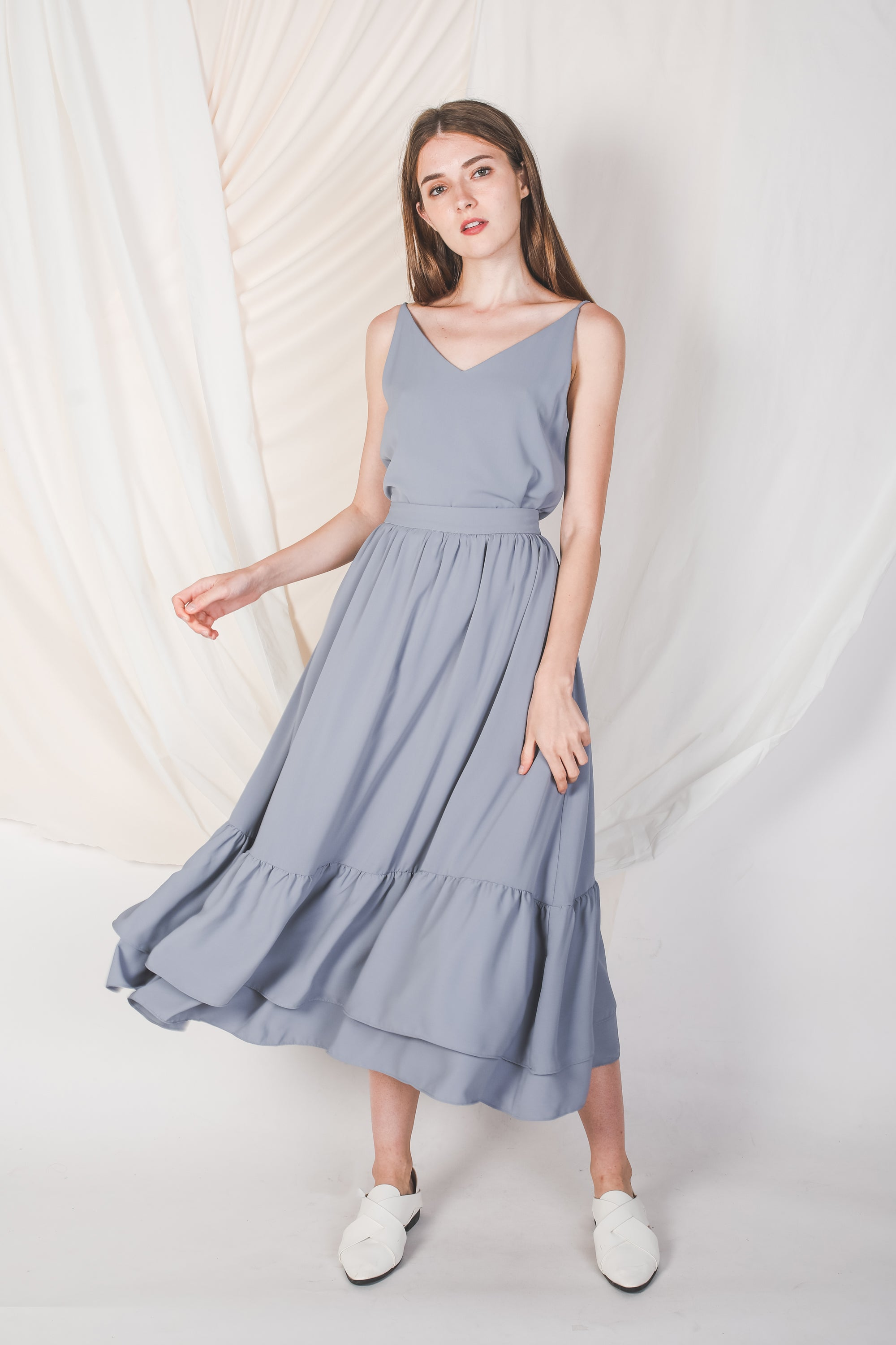 Double Ruffle Skirt In Dusty Blue