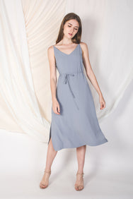 Midi Dress In Dusty Blue