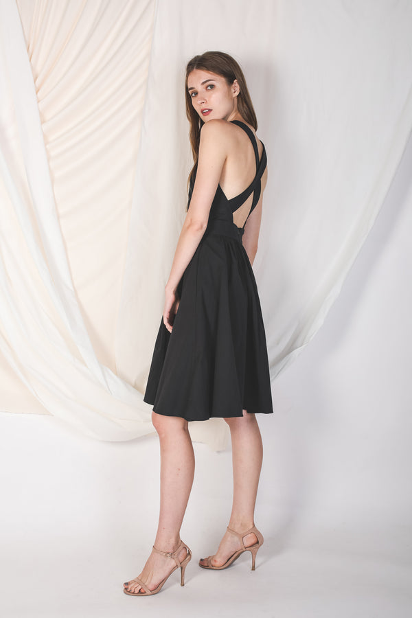 Convertible Back Dress In Black