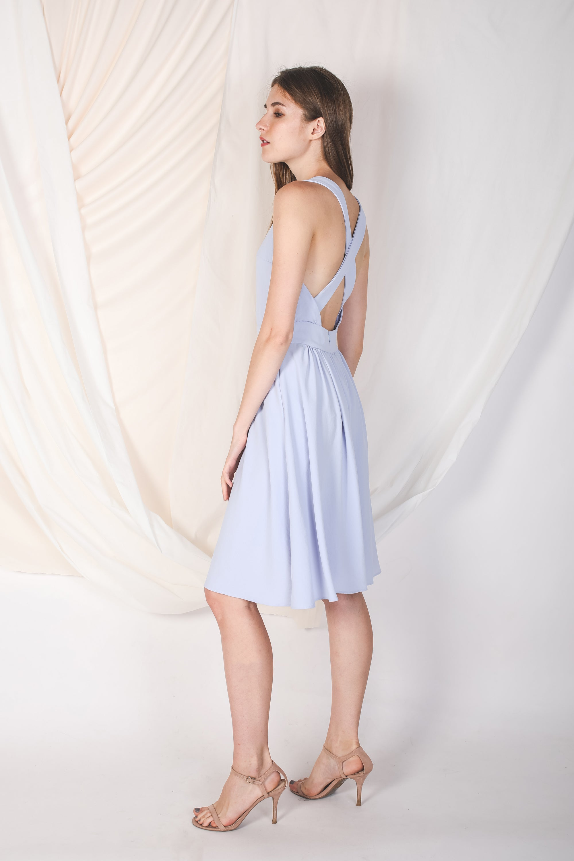 Convertible Back Dress In Light Cornflower Blue
