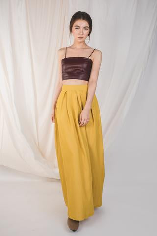Structured Maxi Skirt With Pleats In Yellow (Sale)