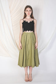 Double Pleated Midi Skirt In Olive