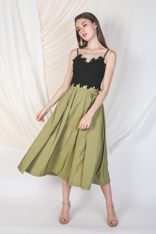 Double Pleated Midi Skirt In Olive -Sale