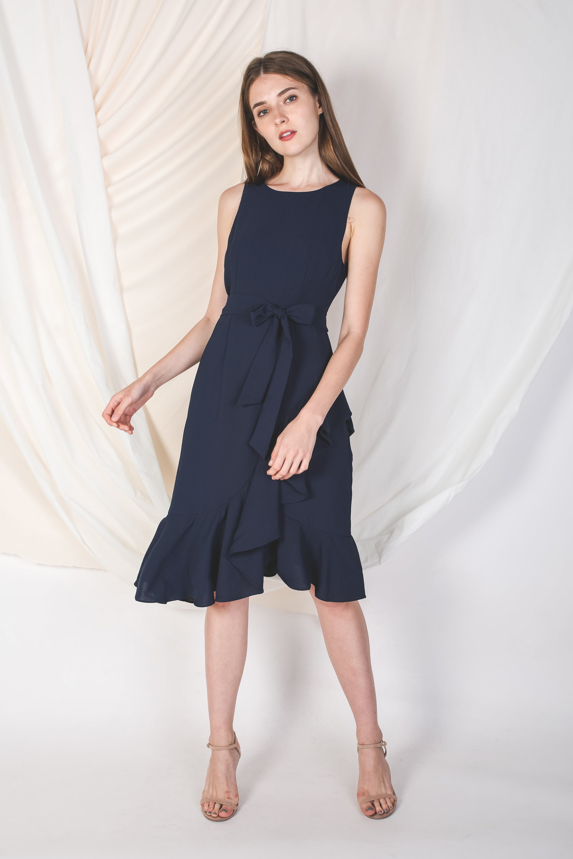 Cross Ruffle Midi Dress In Navy