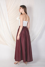 Structured Maxi Skirt With Pleats In Oxblood