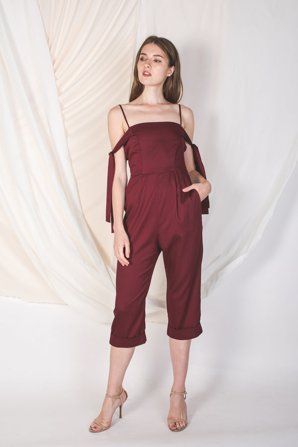 Convertible Jumpsuit In Burgundy -Sale