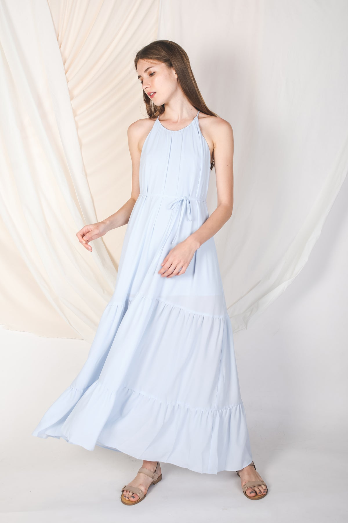 Tiered A-Line Dress In Summer Blue